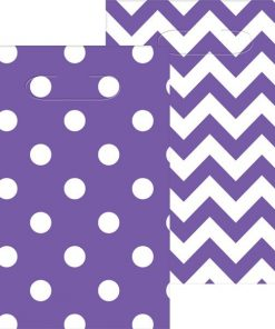 Purple Polka Dot & Chevron Party Plastic Loot Bags,
