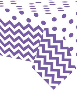 Purple Polka Dot & Chevron Party Plastic Tablecover