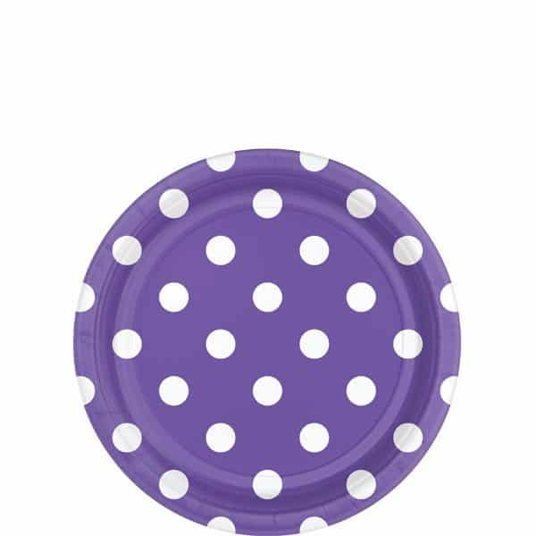 Purple Polka Dot Party Paper Dessert Plates