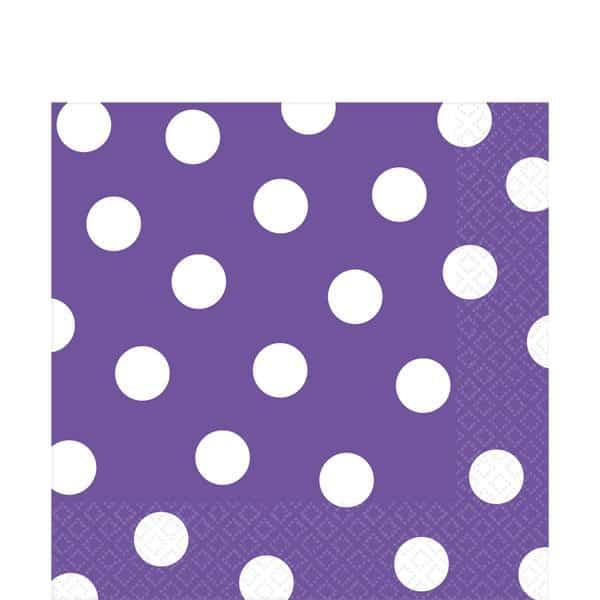 Purple Polka Dot Party Paper Napkins