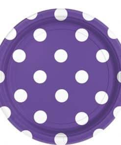 Purple Polka Dot Plates - 23cm