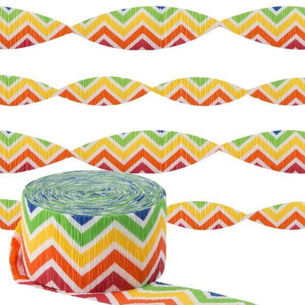 Rainbow Chevron Party Crepe Streamer