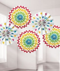 Rainbow Polka Dot & Chevron Party Paper Fan Decorations