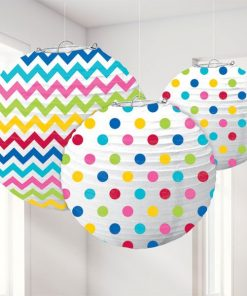 Rainbow Polka Dot & Chevron Party Paper Lantern Decorations