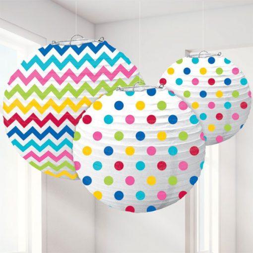 Rainbow Polka Dot & Chevron Party Paper Lantern Decorations