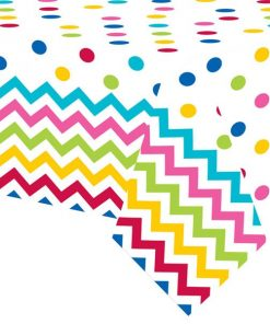 Rainbow Polka Dot & Chevron Party Plastic Tablecover