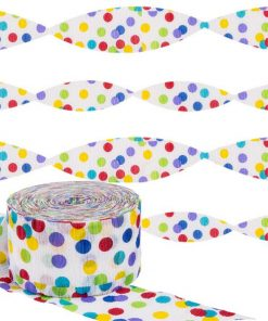 Rainbow Polka Dot Party Crepe Streamer