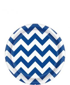 Royal Blue Chevron Party Paper Dessert Plates