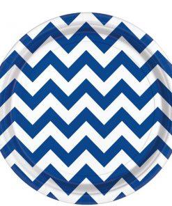 Royal Blue Chevron Party Paper Plates