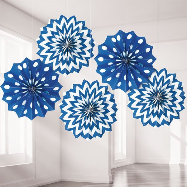 Royal Blue Polka Dot & Chevron Party Paper Fan Decorations