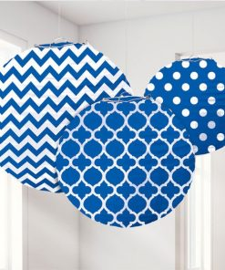 Royal Blue Polka Dot & Chevron Party Paper Lantern Decorations