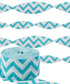 Turquoise Chevron Party Crepe Streamer