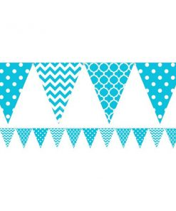 Turquoise Polka Dot & Chevron Party Bunting