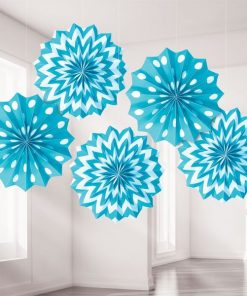 Turquoise Polka Dot & Chevron Party Paper Fan Decorations