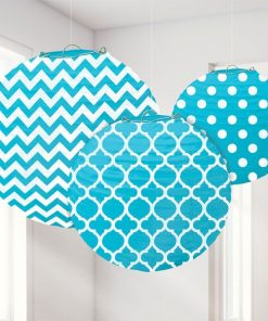 Turquoise Polka Dot & Chevron Party Paper Lantern Decorations