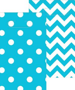 Turquoise Polka Dot & Chevron Party Plastic Loot Bags