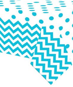 Turquoise Polka Dot & Chevron Party Plastic Tablecover