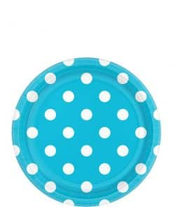 Turquoise Polka Dot Party Paper Dessert Plates