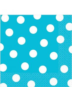 Turquoise Polka Dot Party Paper Napkins
