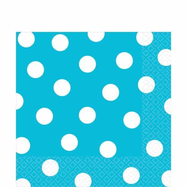 Turquoise Polka Dot Party Paper Napkins Fun Party Supplies