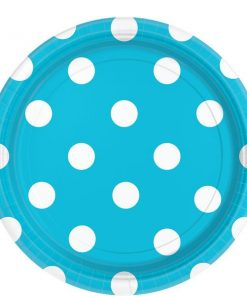 Turquoise Polka Dot Party Paper Plates