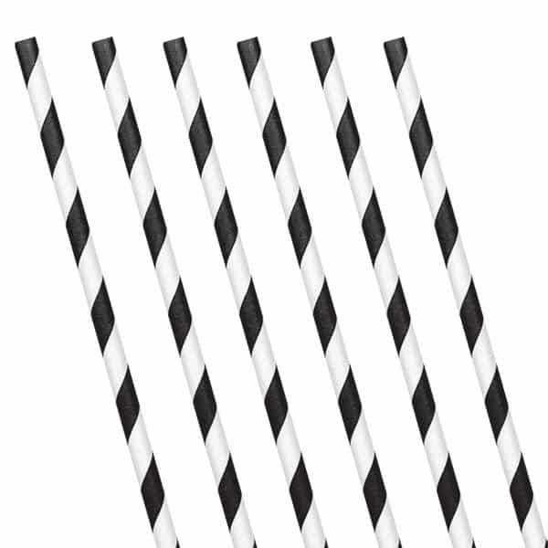 Black Stripe Paper Straws