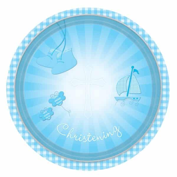 Christening Booties Blue Party Paper Plates