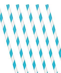 Turquoise Stripe Paper Straws