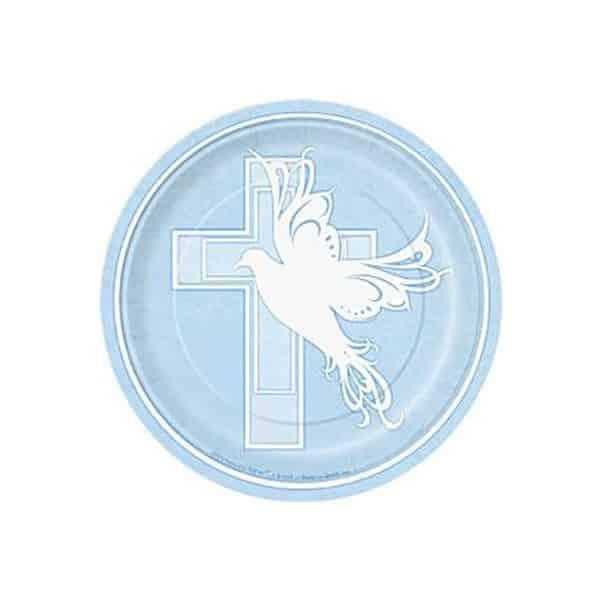 Dove Cross Blue Holy Communion Party Paper Dessert Plates