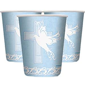 Dove Cross Blue Holy Communion Party Paper Cups