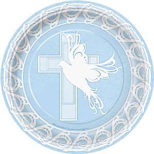 Dove Cross Blue Holy Communion Party Paper Plates