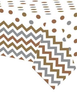Metallic Polka Dot & Chevron Party Plastic Tablecover