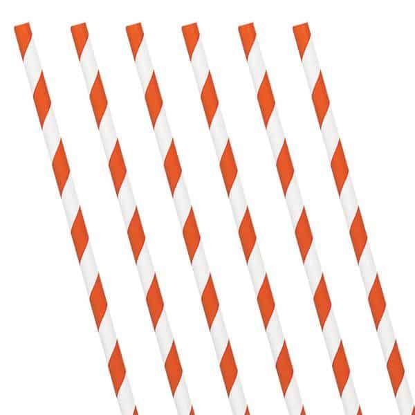 Orange Peel Stripe Paper Straws