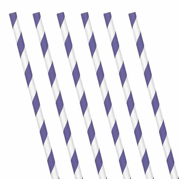 Purple Stripe Paper Straws