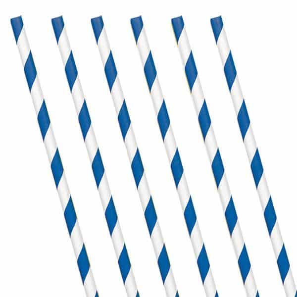 Royal Blue Stripe Paper Straws