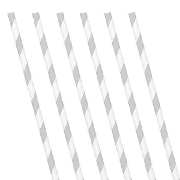 Silver Stripe Paper Straws