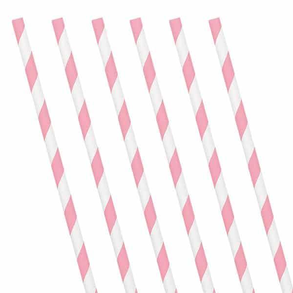 Soft Pink Stripe Paper Straws