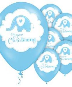 Sweet Baby Elephant Blue Christening Party Printed Latex Balloons
