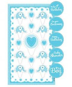 Sweet Baby Elephant Blue Christening Party Cake Topper Kit