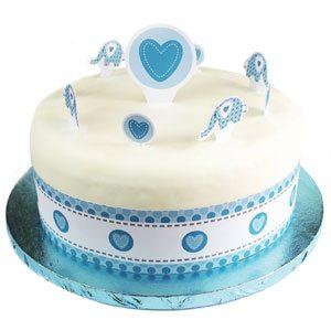 Sweet Baby Elephant Blue Christening Party Cake Topper Kit