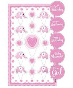 Sweet Baby Elephant Christening Party Cup Cake Topper Kit