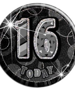 Black 16th Birthday Badge