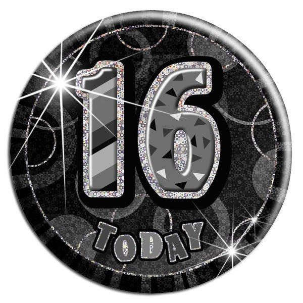 Black 16th Birthday Badge