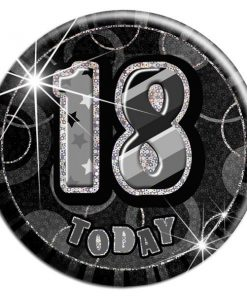 Black 18th Birthday Badge