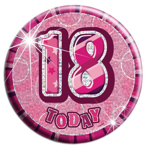 Pink 18th Birthday Badge