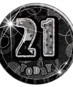 Black 21st Birthday Badge