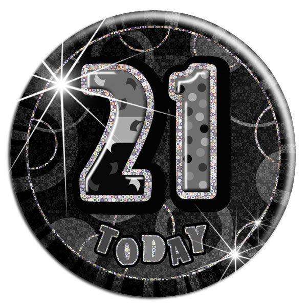 Black 21st Birthday Badge