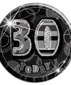 Black 30th Birthday Badge