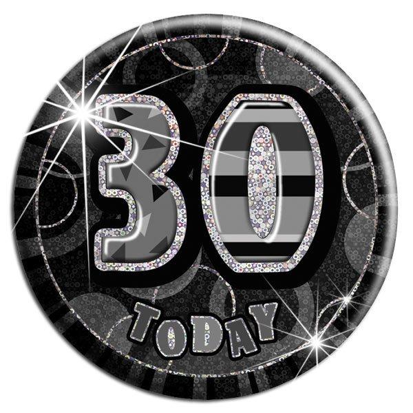 Black 30th Birthday Badge