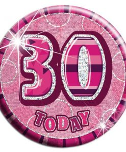 Pink 30th Birthday Badge